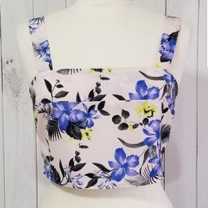 Charlotte Russe Tropical Floral Crop Top S